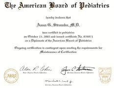 American Board of Pediatrics Certificate (2002)