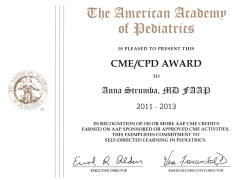 2014 AAP CME/CPD Award (Continuing Medical Education/ Continuing Professional Development)